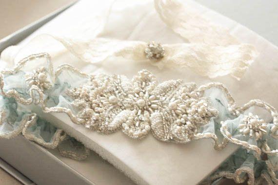 Bridal garter set - Beeds & Pearls