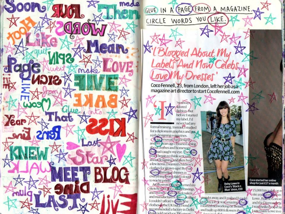 Wreck This Journal The Back Of The Four Letter Words Page With Added Four Letter Words From A Magazine Page And Stars Wtj Magazine