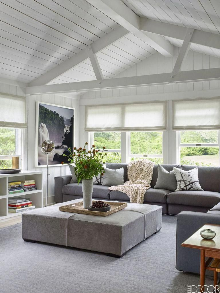 The Den Of A Minimalist Beach House On Long Island Has A Vintage