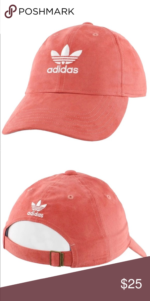 NWT Adidas Originals Suede Hat Pink salmon rust Adidas originals trefoil  suede hat coral pink  salmon  orange rust color. NWT baseball dad cap white  logo ... 08f712400