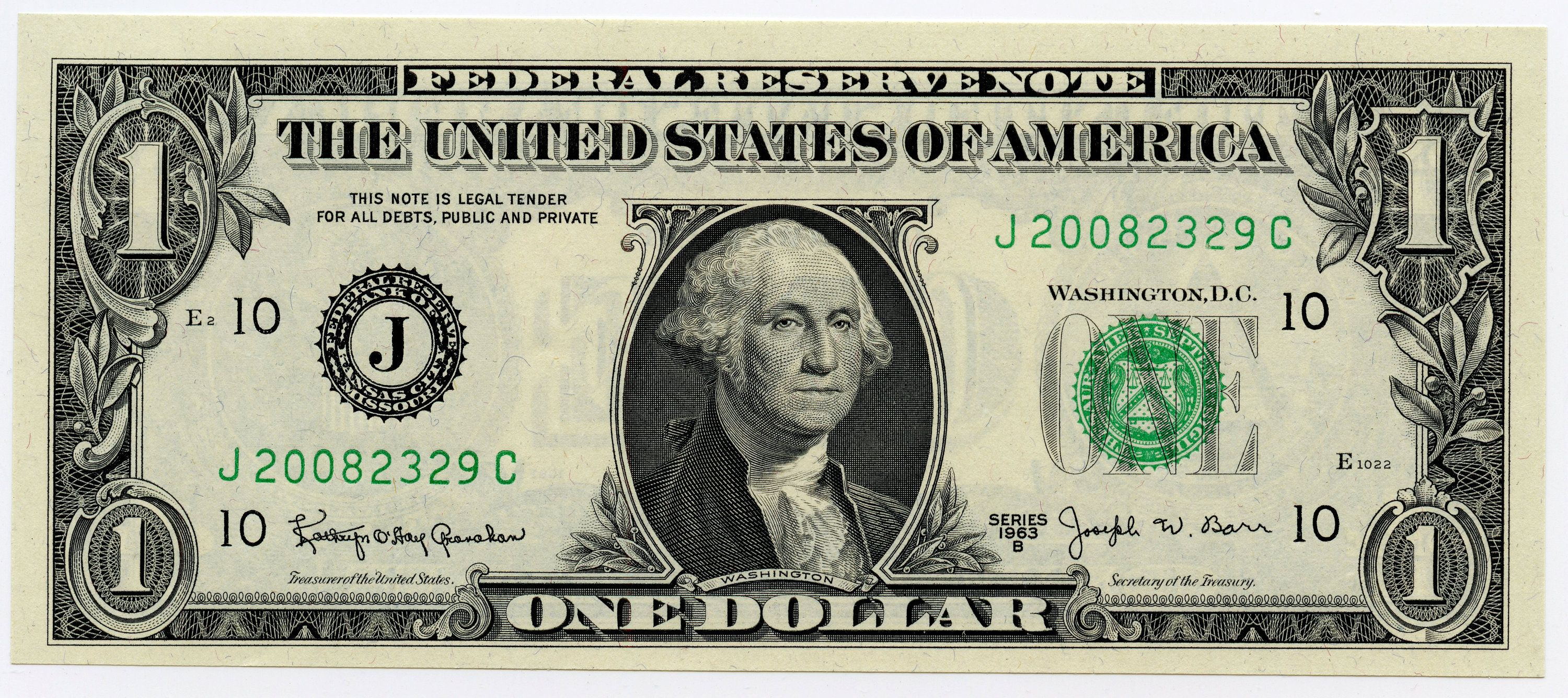 1963b united states one dollar federal reserve note f1902j