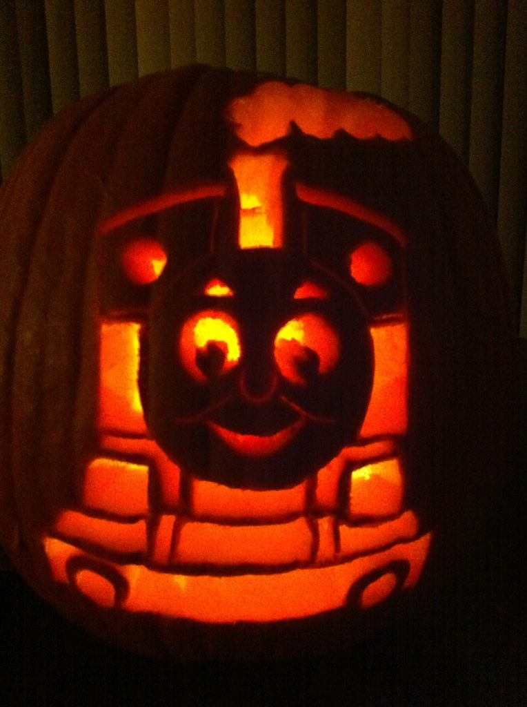 A thomas pumpkin that jamie made last year awesome