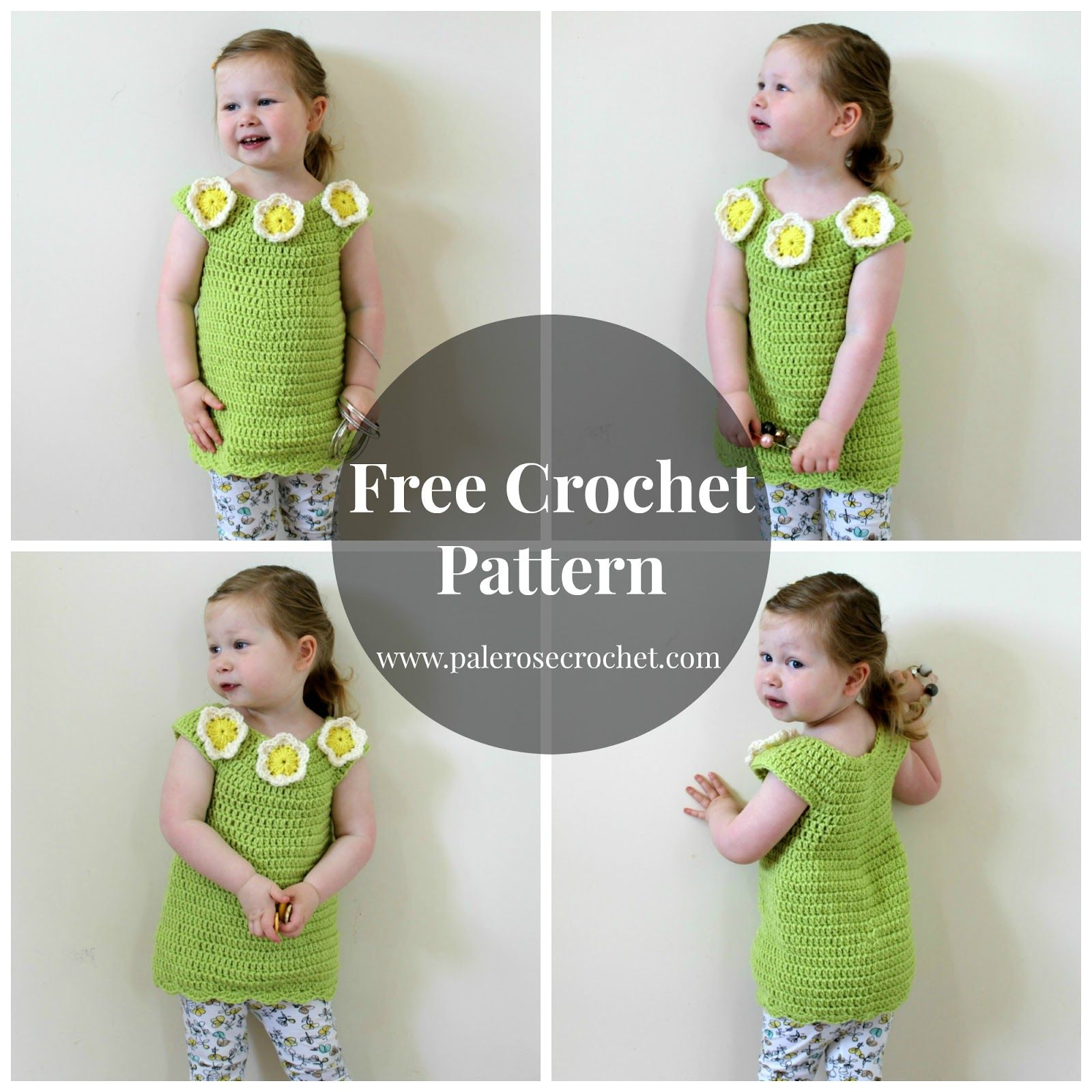 Toddler Flower Tunic Dress   Croquet stitches   Pinterest