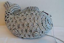 Minaudiere Evening Bag Handbag Crystal Evening Multi Bead Fish Clear Black NEW