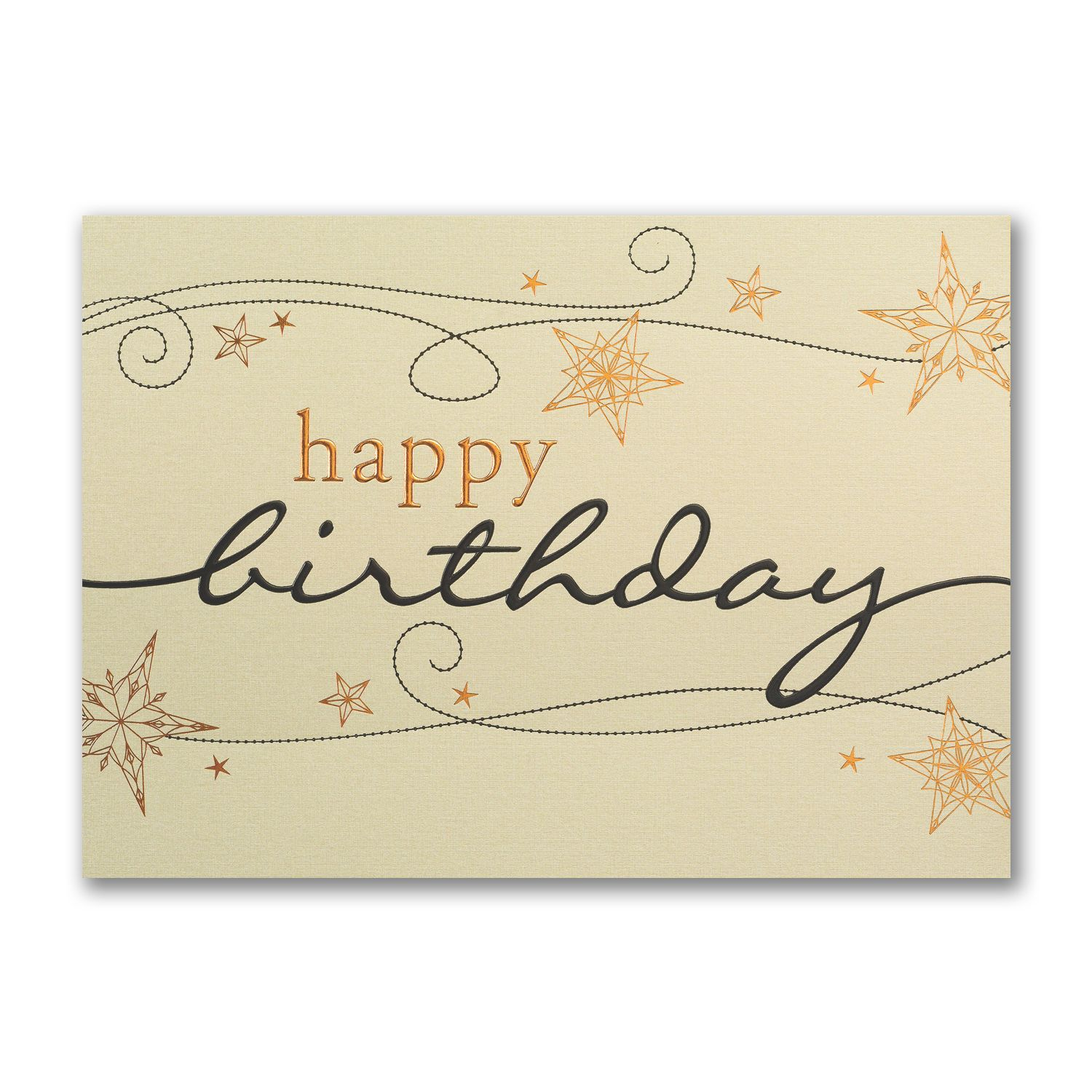 Golden Birthday Swirls Winter Business Birthday Cards http ...