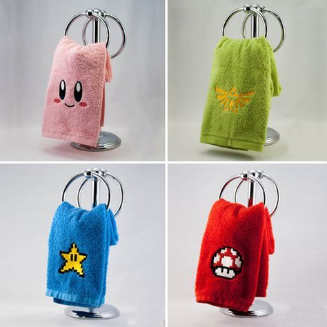 Nintendo Hand TowelsNow you can 'one up' your friends with this awesome bathroom decor. Dress up your home bathroom with these highly geeky, yet highly attractive Nintendo hand towels, without having to spend all your Rupees.  $12.00 - Click here to check it out!Or here to visit our site for more awesome merchandise!