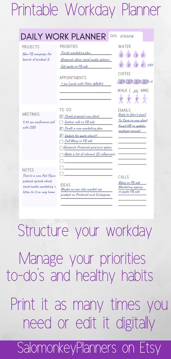 workday planner daily work planner work organizer work schedule