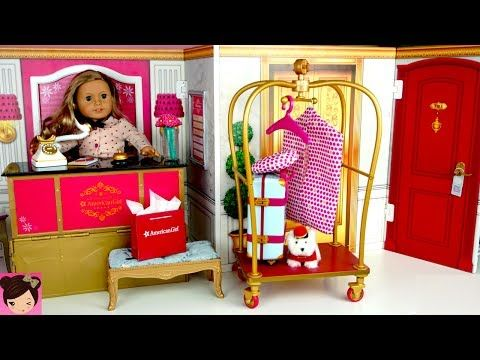Hotel Pink Rolling Clothes Rack Set for Doll Clothes American Girl IN-STOCK