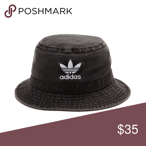 bb1366aad31 adidas Originals Trefoil Washed Black Bucket hat adidas Originals Trefoil  Logo Washed Black Denim Bucket Cap Hat NEW adidas Accessories Hats