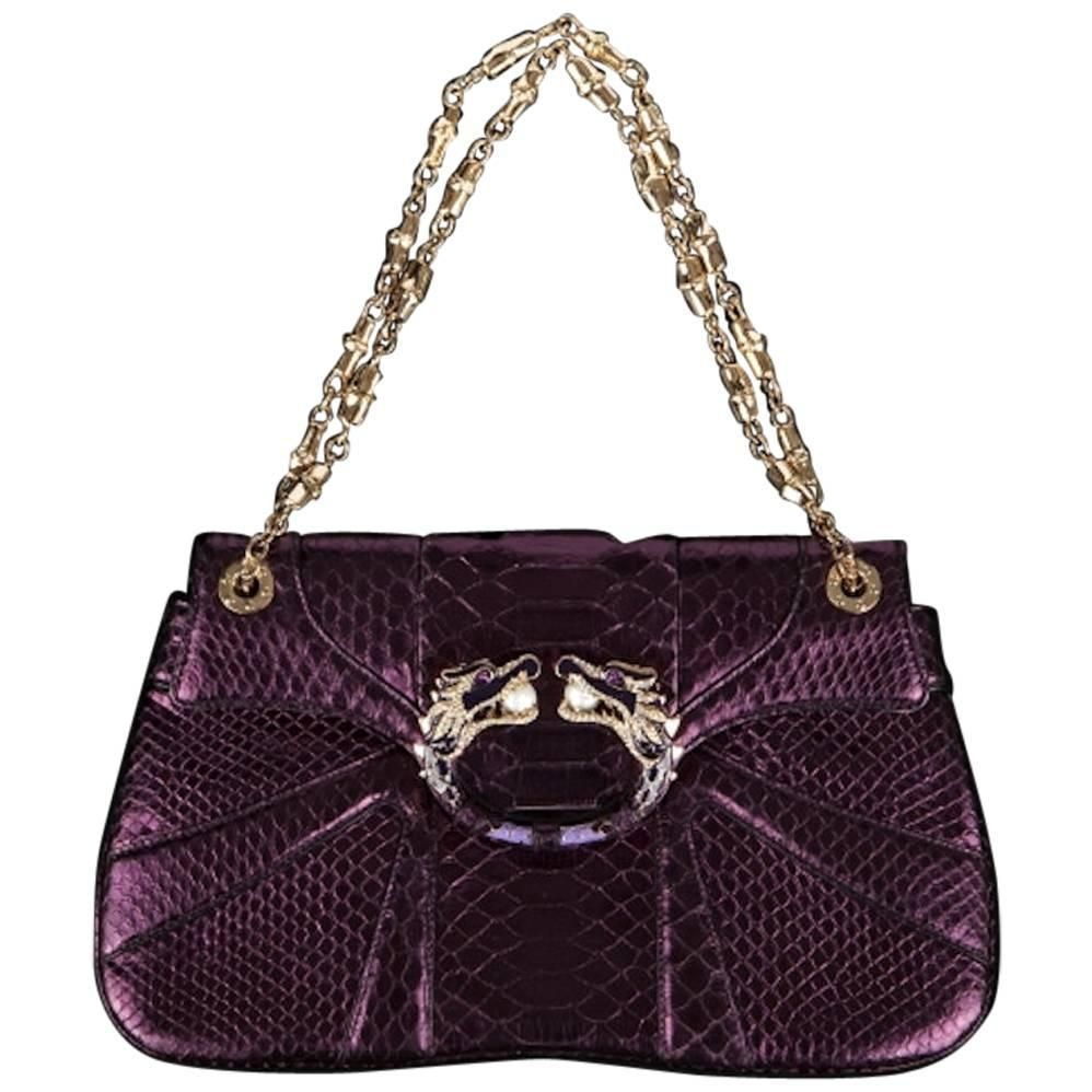 Gucci Tom Ford FW 2004 Dragon Pearl Jeweled Purple Python Snake Bag ... 854435837b