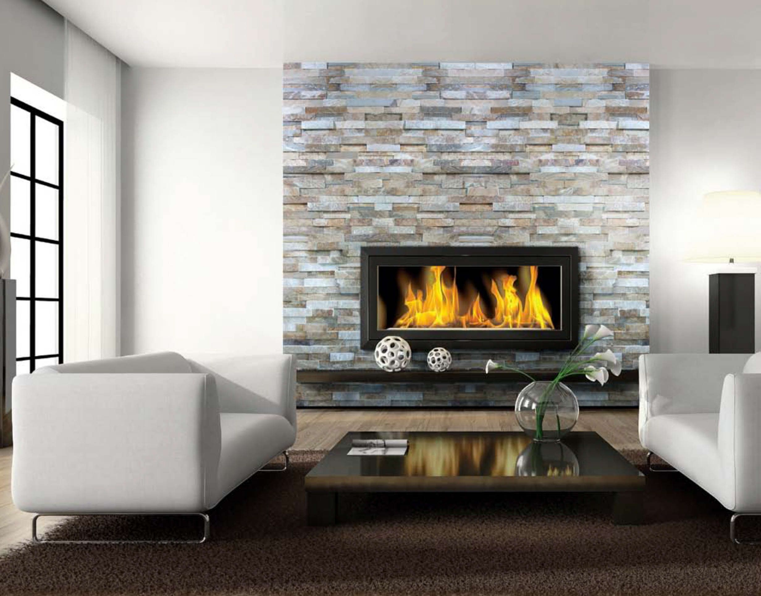 rectangle black iron modern fireplace with grey stone wall and square brown wood