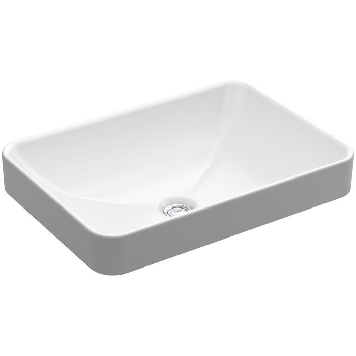 Vox Vitreous China Rectangular Vessel Bathroom Sink with Overflow in