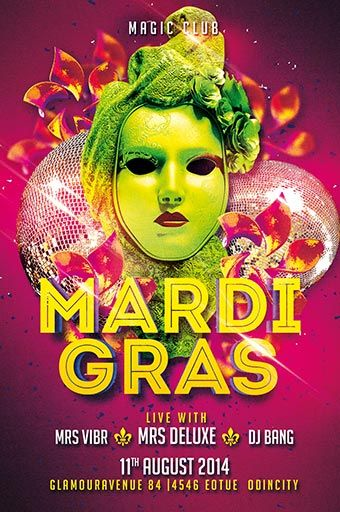 Mardi Gras Party Free Psd Flyer Template  Download Free Psd Http