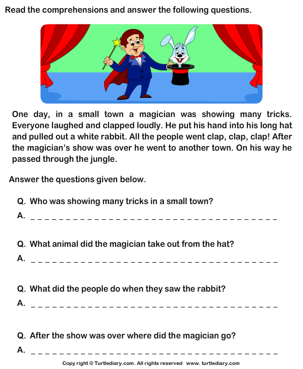 Reading comprehension stories TurtleDiary – Reading and Comprehension Worksheets for Grade 3