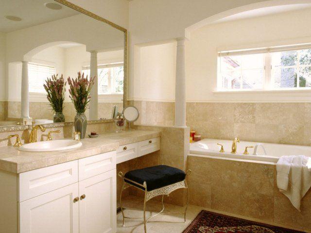 salle de bain rétro marbre baignoire-grand-miroir Salle de bains