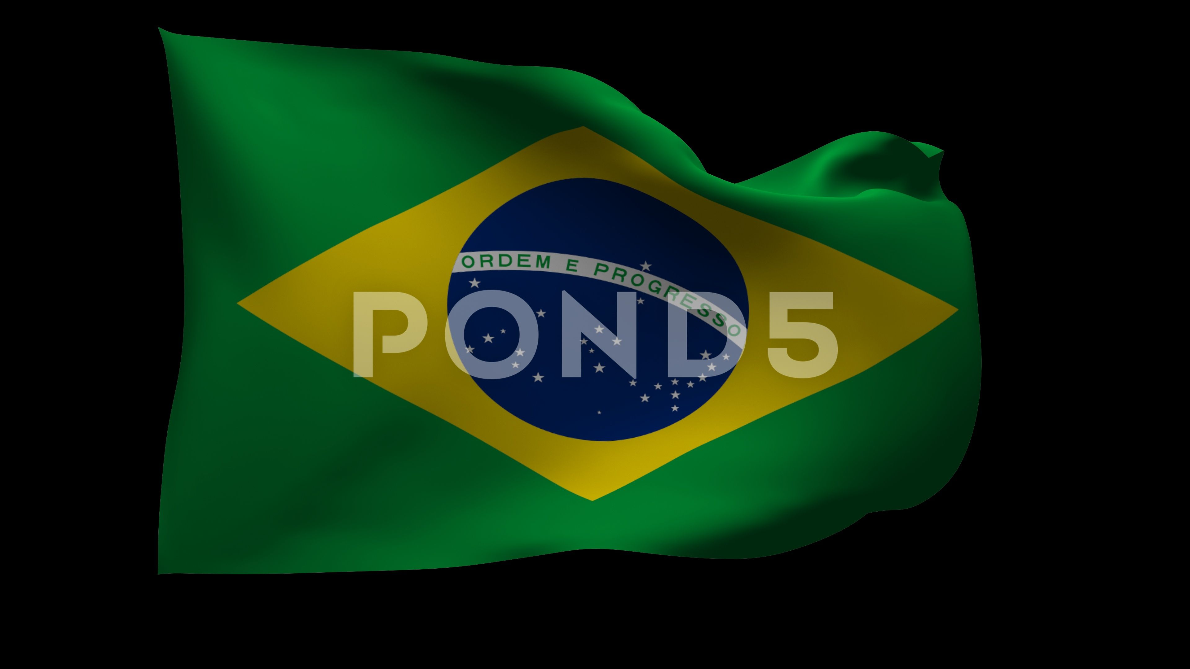 4k Uhd Waving Flag Of Brazil With Alpha Channel Stock Footage
