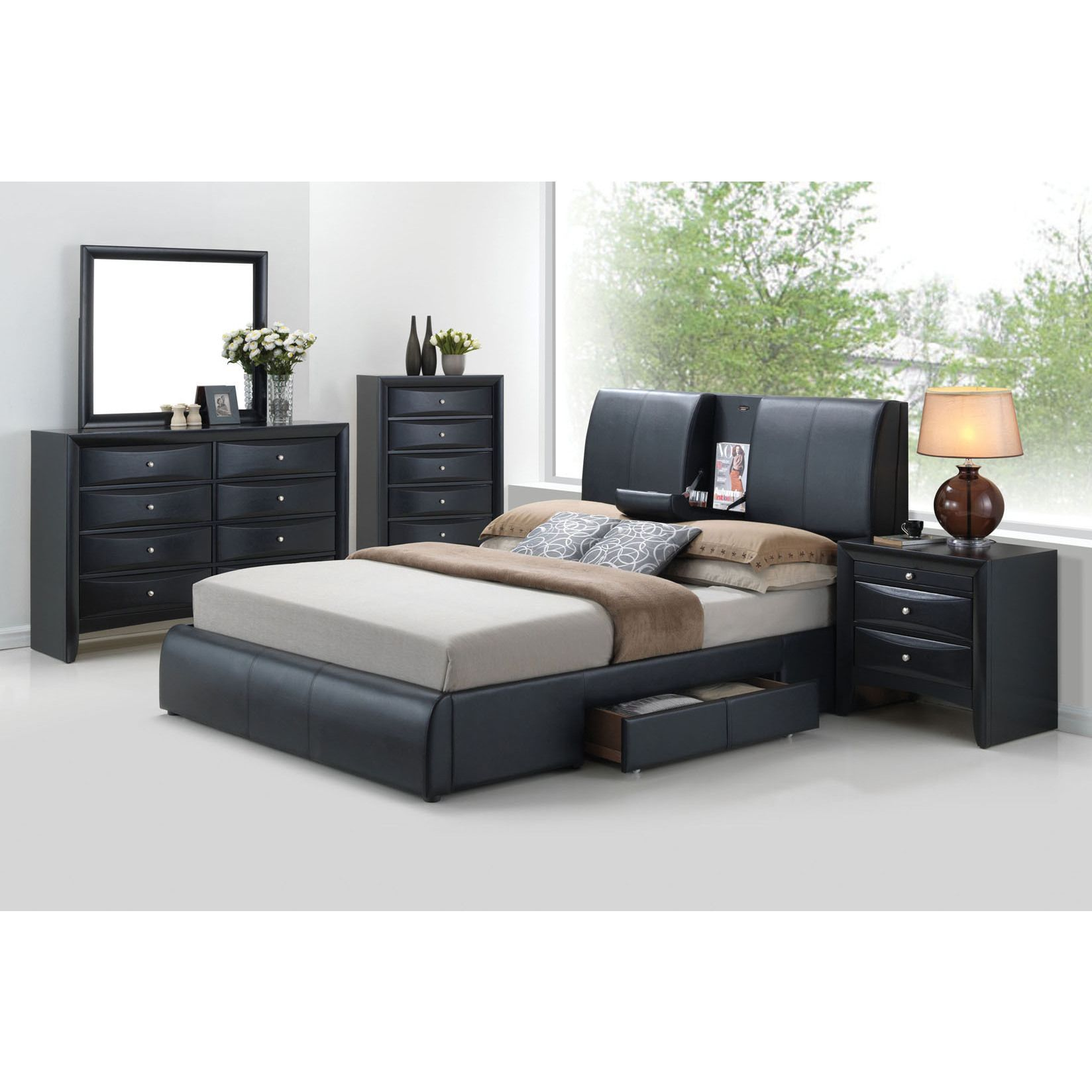 Acme Kofi Black PU Bed with Storage (Queen)