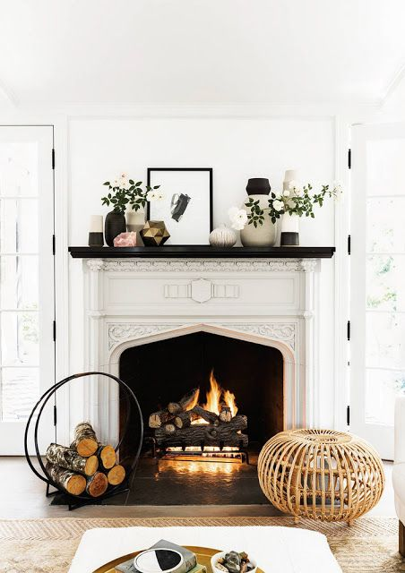 Farmhouse mantel inspiration.  Love the neutral look and contrast with the white and black