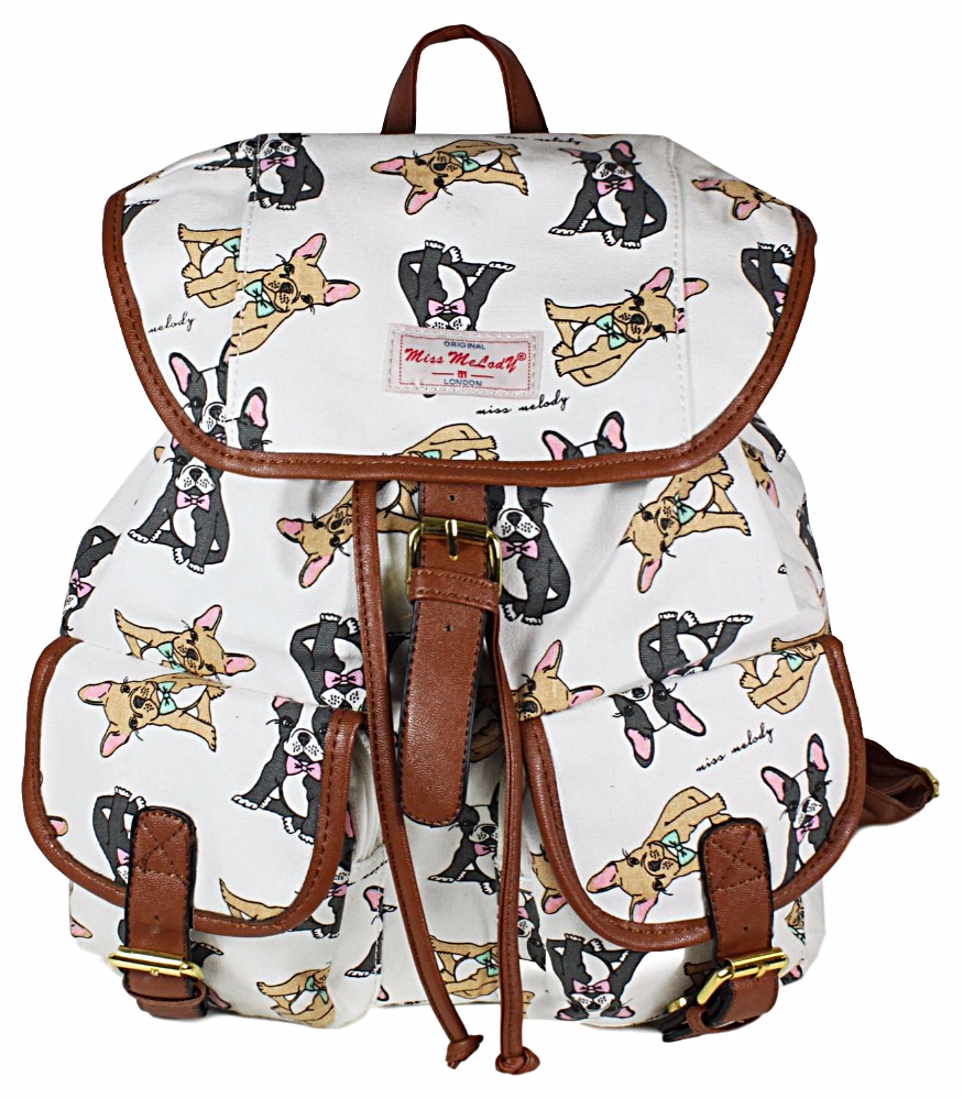 A cream backpack rucksack with a French Bulldog print The