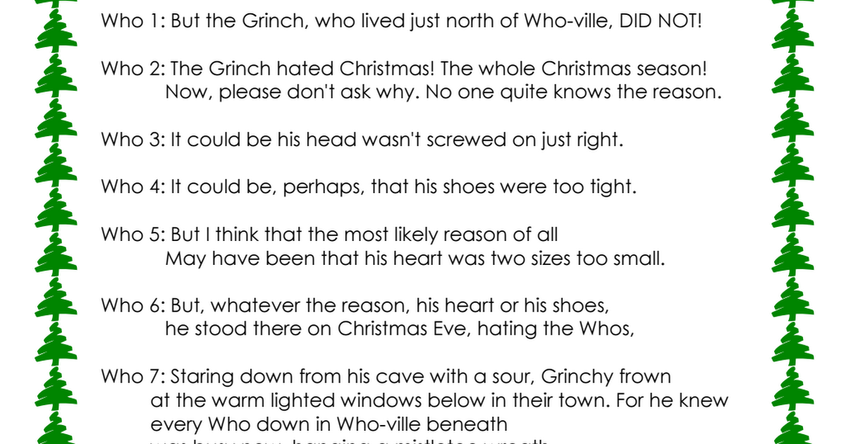How The Grinch Stole Christmas Story Pdf