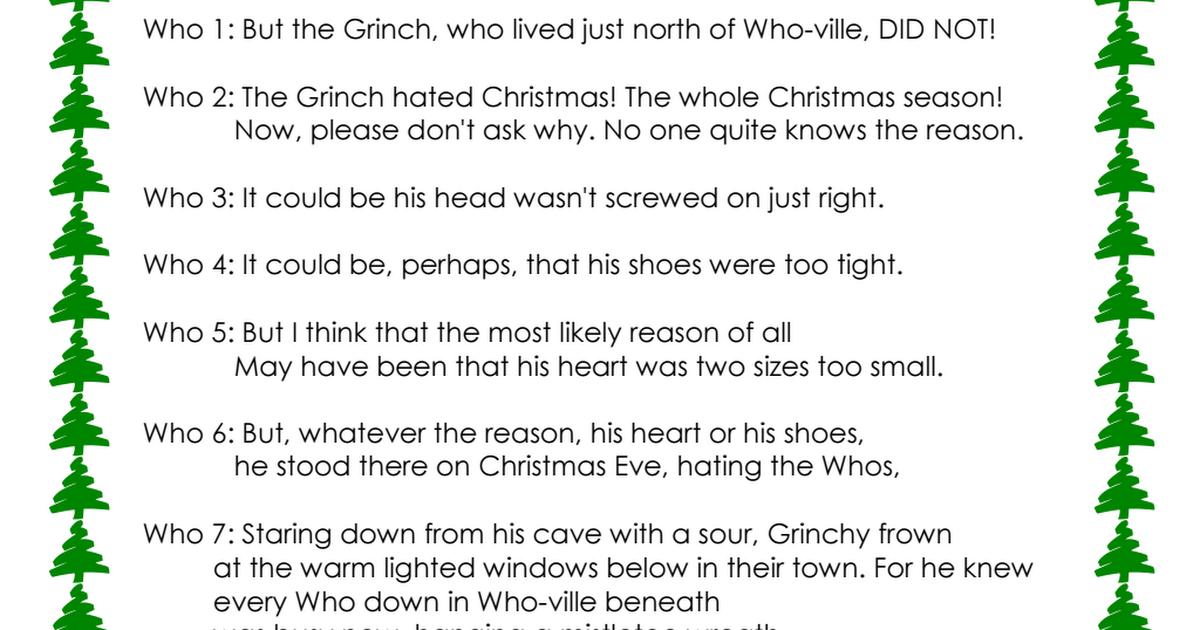 Grinch Readers Theatre Pdf Grinch Dr Seuss Book Readers