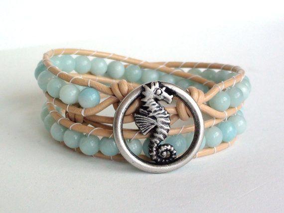 Amazonite Leather Wrap Bracelet