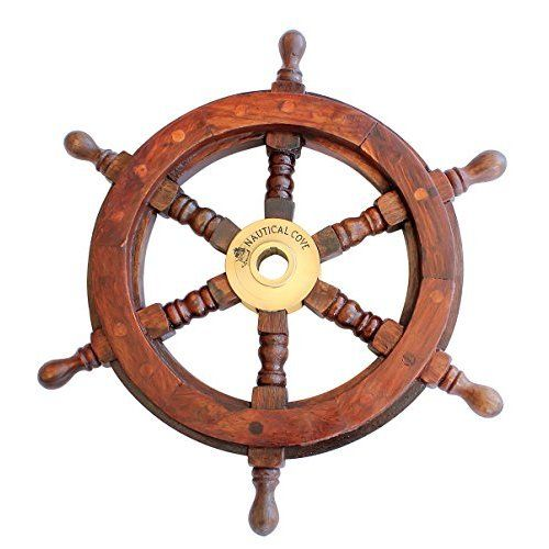"Wooden nautical Ships wheel Boat/'s Steering Wheel Helm 24/"" Marine Decoration"