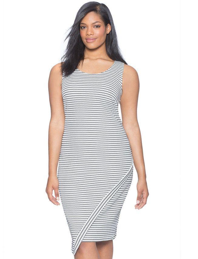 Sleeveless Asymmetrical Textured Dress from eloquii.com