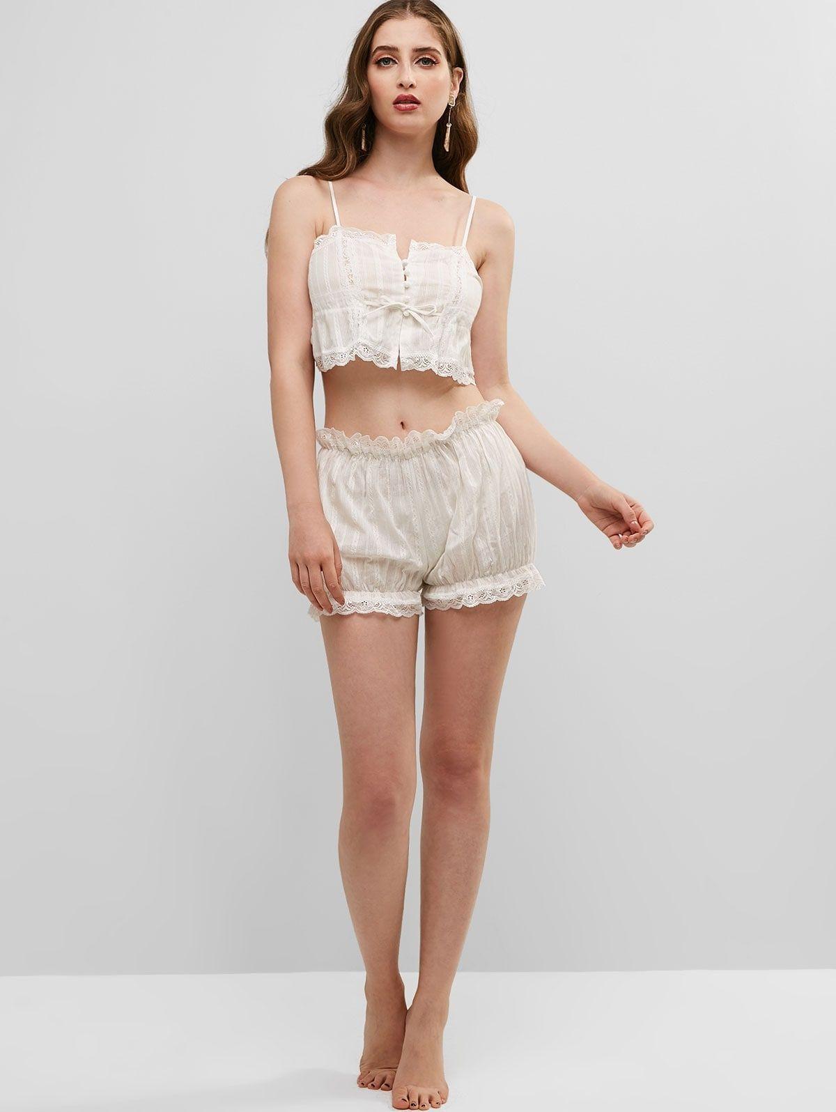 Drawstring lace panel scalloped pajama set white