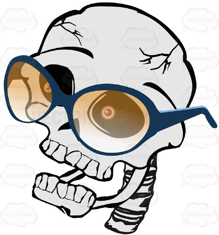 Cartoon Skull Looking Left Wearing Yellow Shaded Glasses ...