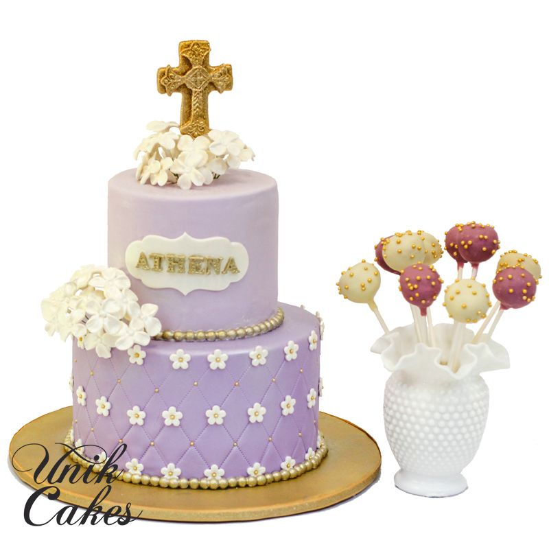 Purple And Gold Christening Cake