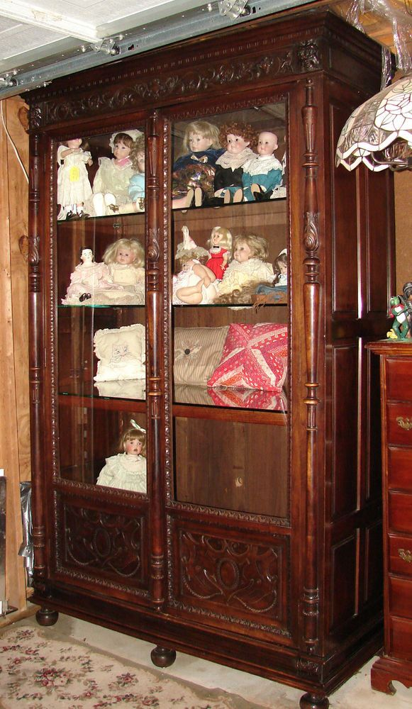 Beautiful Large Antique Carved 2 Door Bookcase Display Cabinet 95 Tall In Antiques Furniture Cabinets Cupboards Ebay