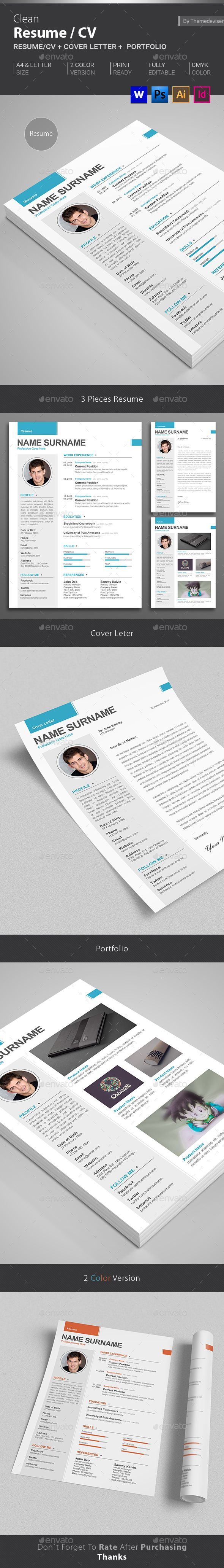 Resume Templates To Download For Word%0A Clean Resume CV Template  MS WORD   PSD   AI Illustrator    InDesign
