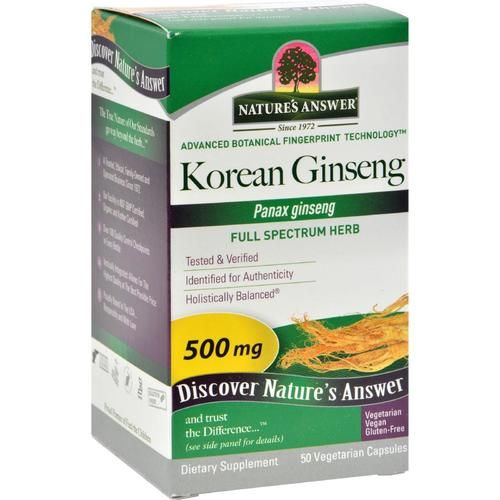 Nature S Answer Korean Ginseng Root 50 Vegetarian Capsules 0123877 Herbalism Herbs Korean Ginseng