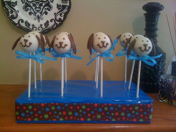 Puppy dog cake pops by Jen's Pop Shoppe on Etsy