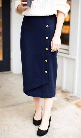 5f939c3d78d Talking all about styling pencil skirts for the office today on Poor Little  It Girl! This navy one here is under  90 and SO pretty!