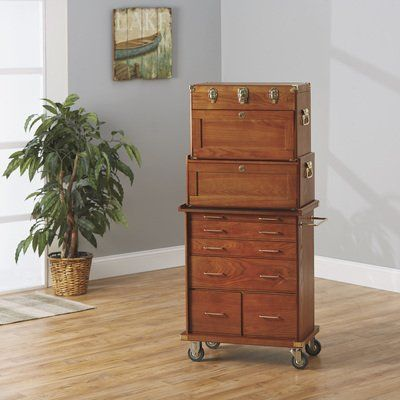 6-Drawer Oak Rolling Collector's Chest Storage Cabinet Oak ...