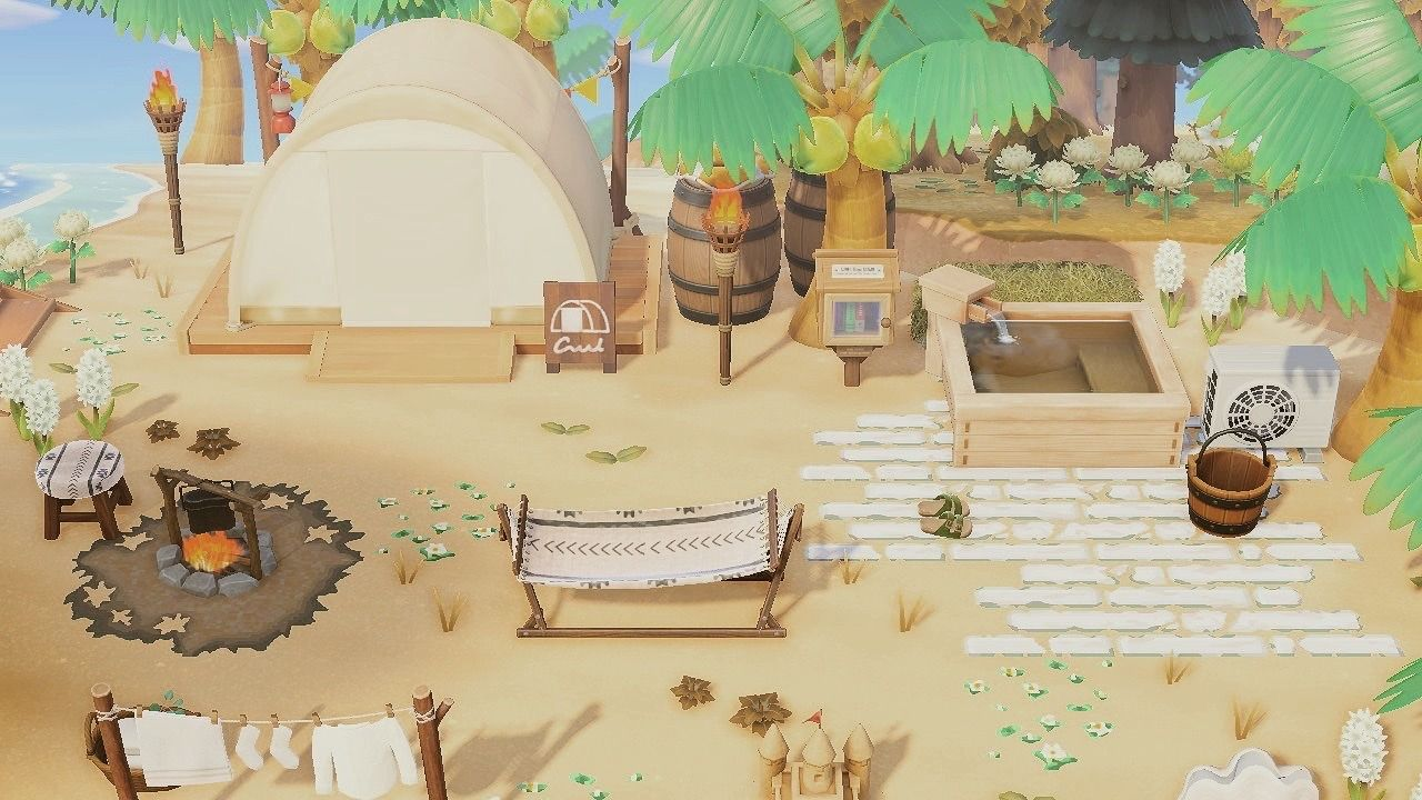 Cluttered Beach Campsite Shell Yeah Animal Crossing Animal Crossing Wild World Animal Crossing Guide