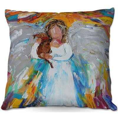 Winston Porter Reyes Couch Angel Puppy Throw Pillow Size 20 X 20 Throw Pillows Fur Throw Pillows Outdoor Throw Pillows