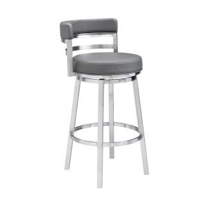 Armen Living Madrid Gray And Stainless Steel 26 Inch Counter Stool Lcmababsgr26 Bellacor In 2021 Leather Bar Stools Bar Stools Leather Bar 26 inch counter stools