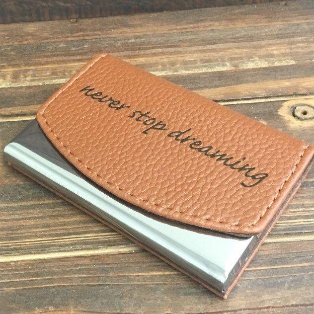 Custom Engraved Leather Business Card Holder Groomsmen Gift Etsy Leather Business Card Holder Leather Business Cards Groomsman Gifts