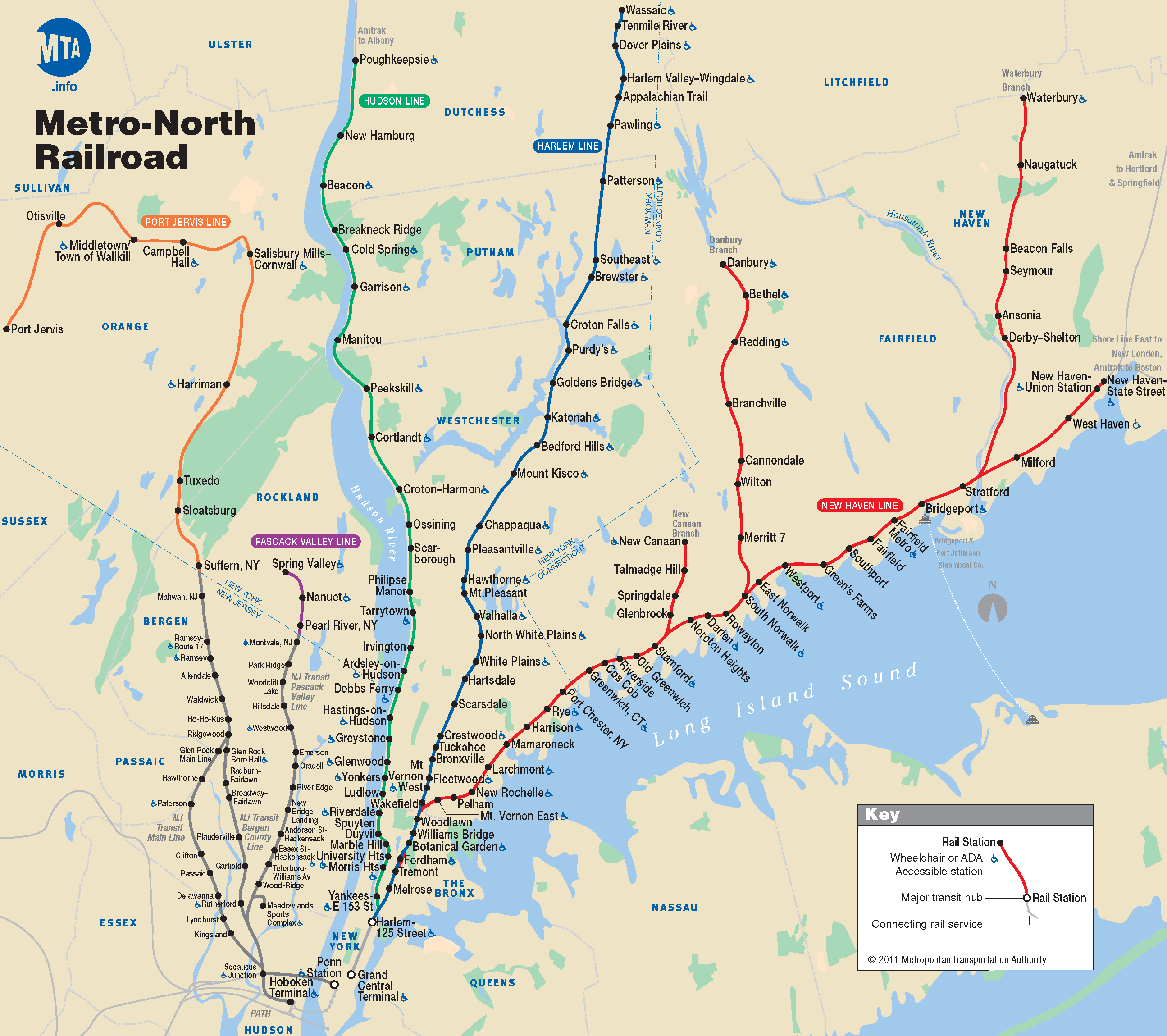 Metro North Map For New York City For Commuting Information From - Chicago amtrak map