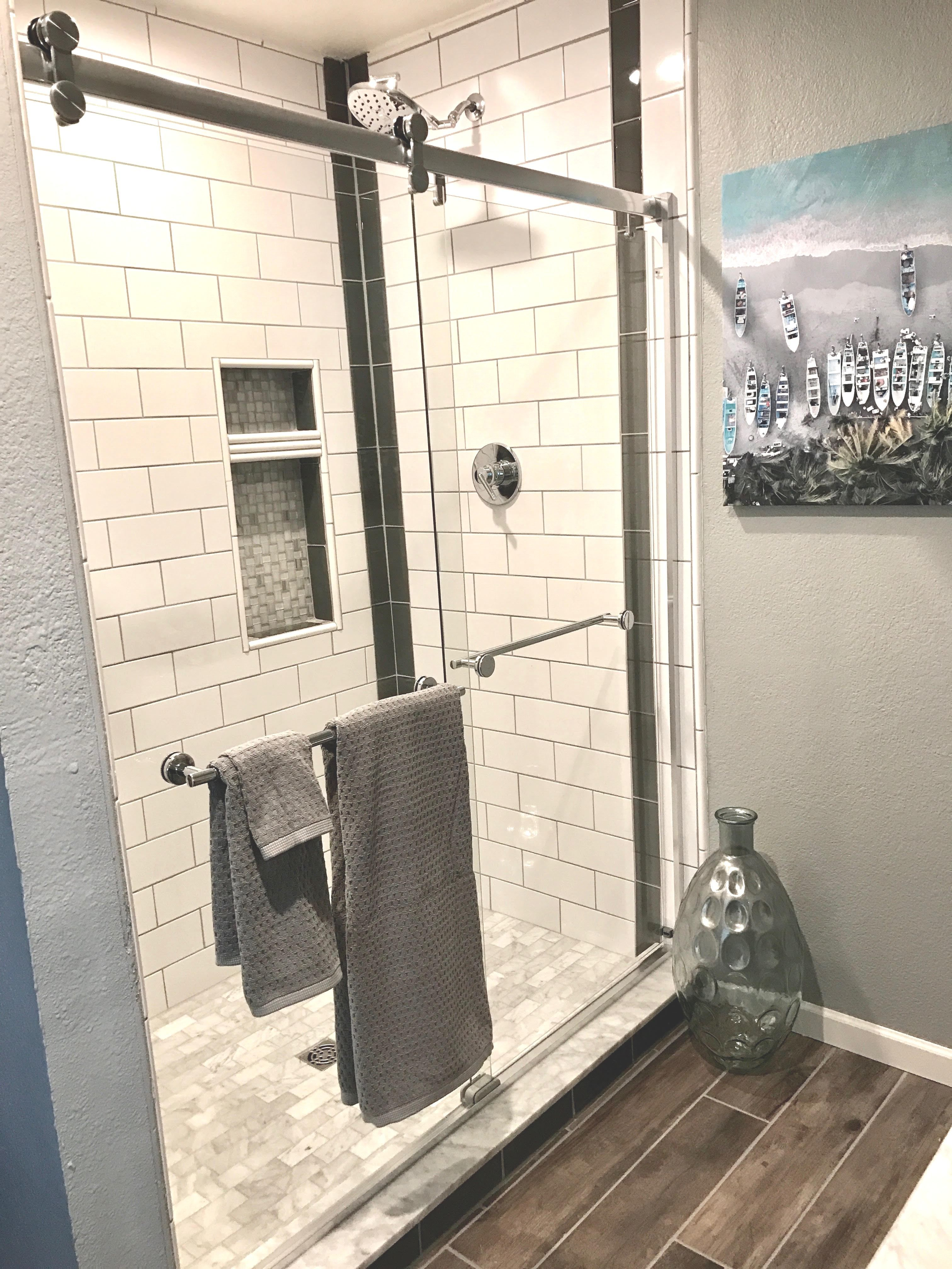 Bathroom remodel - oversized shower replaces garden tub and separate ...