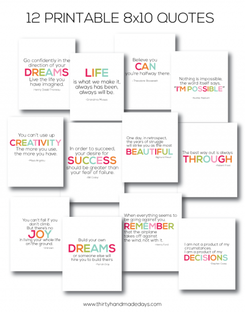Easy Gift Ideas Interchangeable Printable Quote