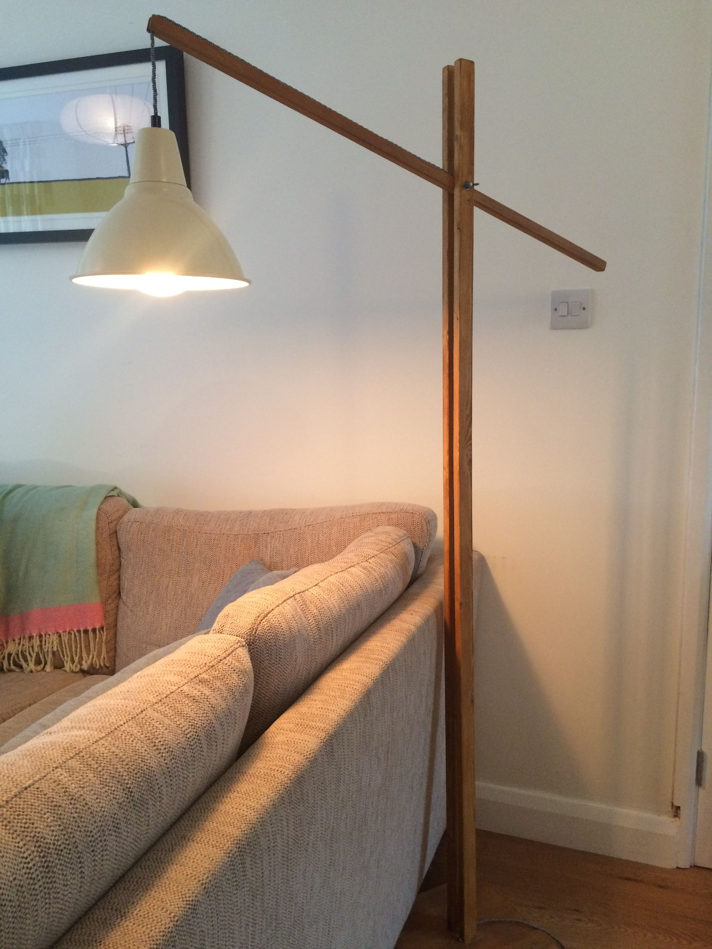 Home Made Floor Lamp With Exposed Braided Cable And