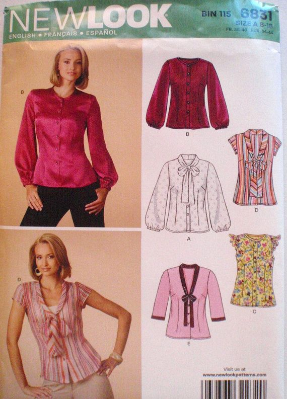 New Look 6831 - Woman\'s Sewing Pattern - Button Front Blouse With ...