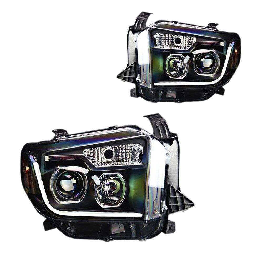 Buy a pair of black projector headlights with led daytime running lights for your toyota tundra with halogen headlights from cj pony parts