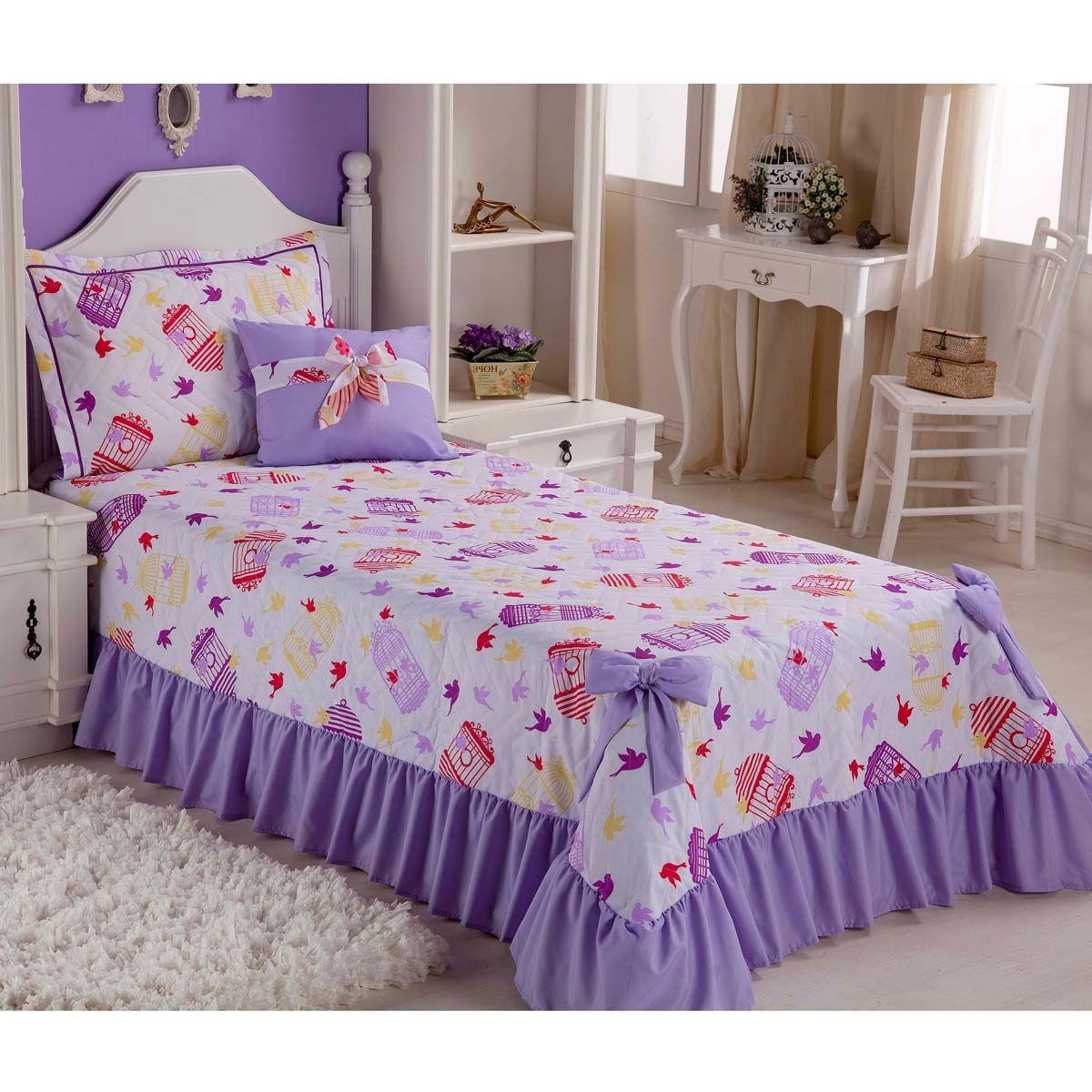 18634c95f9 Colcha para cama de Solteiro Padrão Laila 3 Peças com Almofada em tecido  estampado Pássaros