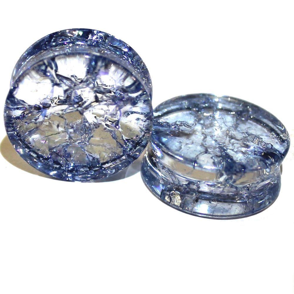 Glass Ear Plug Flesh Tunnel Stone Ear Stretcher cracked glass Plugs