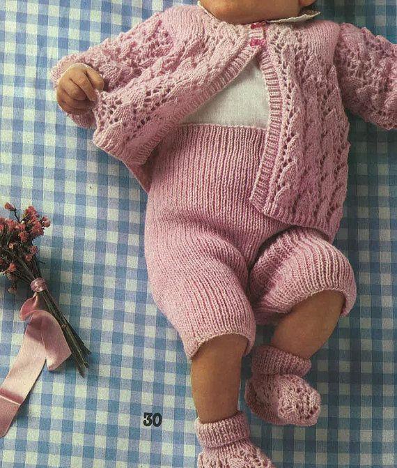 Patron Vintage bébés pull pantalon chaussons chaussettes | Chausson ...